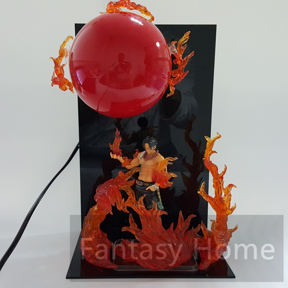 One Piece Figure Ace Fire Ball DIY Display Toy 15CM  Portgas D Ace With Fire Aura PVC Figurine One Piece Ace+Ball+Stand DIY52<br>