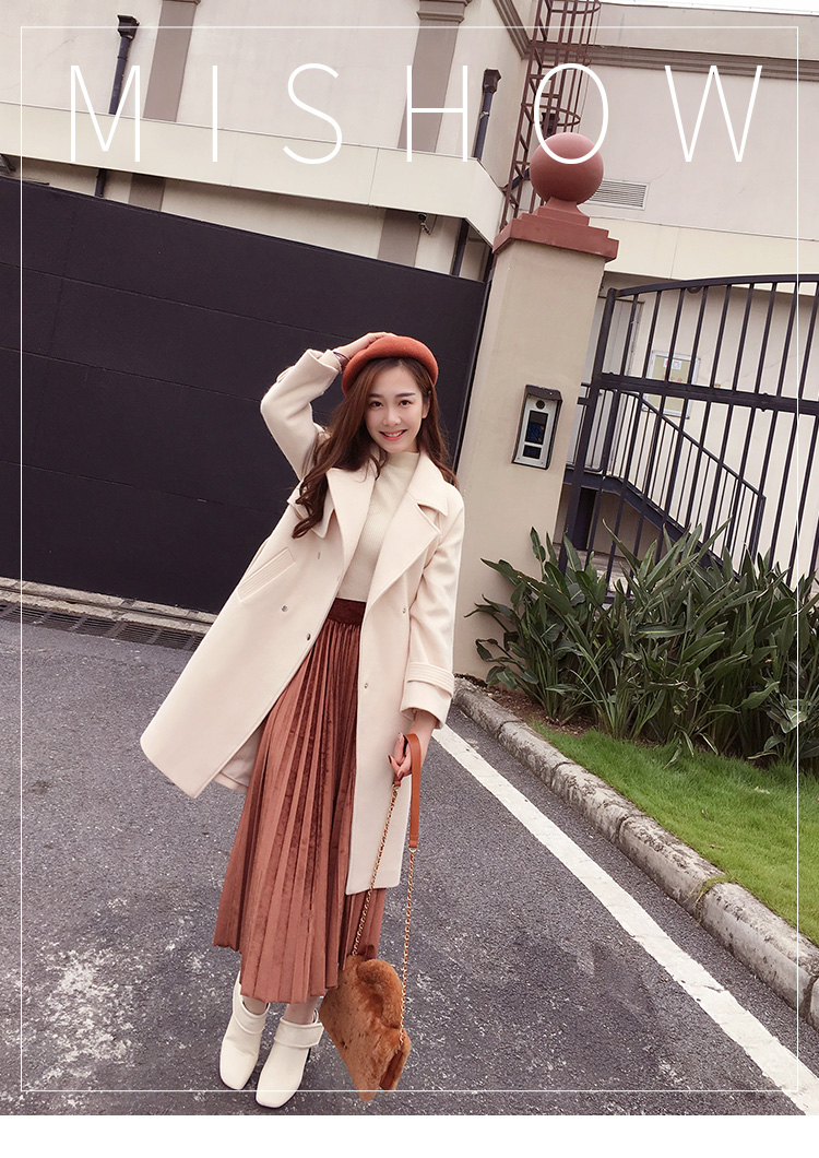 Mishow 19 autumn and winter woolen coat female Mid-Long New Korean temperament women's popular woolen coat MX17D9636 6