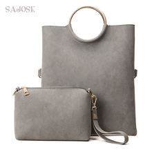 Bags Women Leather Handbags 2 sets Composite Bag Fashion Gray Totes Bags For Lady Bucket Shoulder Bag Bolsos Mujer DropShipping(China)