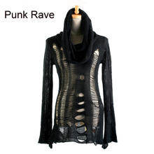 2017 womens punk rave gothic rock fashion black shirt top streampunk pullover knit sweater(China)