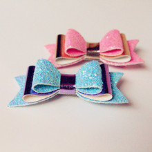 Three Layers Synthetic Leather Glitter Felt Shinning Cute Bows Hairpins 12pcs/lot Wholesale Hair Clips Felt Kids Top Quality(China)