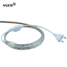 SXZM Waterproof 5050 AC220V 1 Meter led strip light 60led/M and  EU power plug White/Warm white Outdoor holiday led tape light