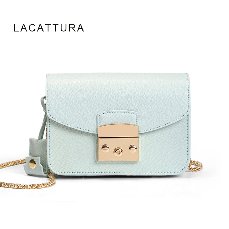 LACATTURA Clacssic Famous Brand Design Women Handbag High Quality Genuine Cowhide Leather Fula Bag Small Shoulder Bag With Lock<br>