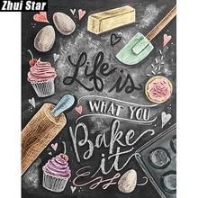 """Жуй Star полный квадрат дрель 5D DIY алмазной живописи """"Кухня торт"""" 3D Вышивка Набор для вышивки крестом мозаичный Декор подарок VIP(China)"""