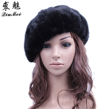 Winter Women Fur Berets Beanies Genuine Mink Fur Lined Hat Female Vintage Caps Mink Fur Octagonal Caps Russian Hat Real Fur