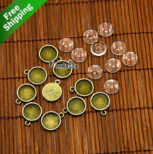 12mm Dome Transparent Glass Crystal DIY Antique Bronze Tibetan Style Pendant Jewelry Accessory Cabochon Setting Lead Nickel Free