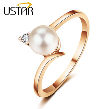 Buy USTAR Created pearl wedding Rings women Jewelry AAA Cubic Zirconia Rose gold color crystal engagement rings female Anel for $2.15 in AliExpress store
