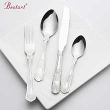 24pcs Kings cutlery stainless steel engraving restaurant flatware set table knife spoon fork  tea spoon 4pcs service 1person