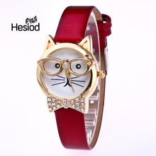 2017 Cute Cat Glass Decoration Tie Bowknot Crystal Child Watch Electronic Cat Face Small Belt Europe & America Style Watch Women