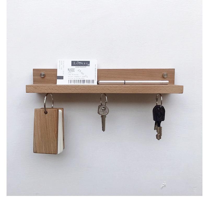 Wooden Rustic Wall Key Box Storage Hook Holder Wooden