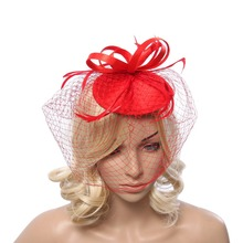 Ladies fascinators black/ cream Red flower feather sinamay hats women hair accessories elegant fascinators for party and races