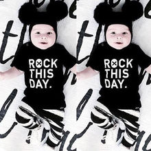 "Neweborn Baby Girl Boy Clothes Long Sleeve Letter  ""rock this day"" T-shirt+Leggings 2pcs"