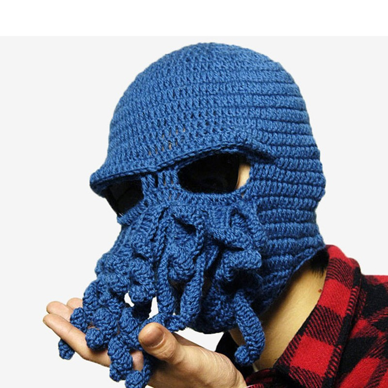 Novelty Halloween Mask Scary Party Face Masks Soft Knitted Beard Octopus Funny Cosplay Mask Holiday Party Decoration Caps(China (Mainland))