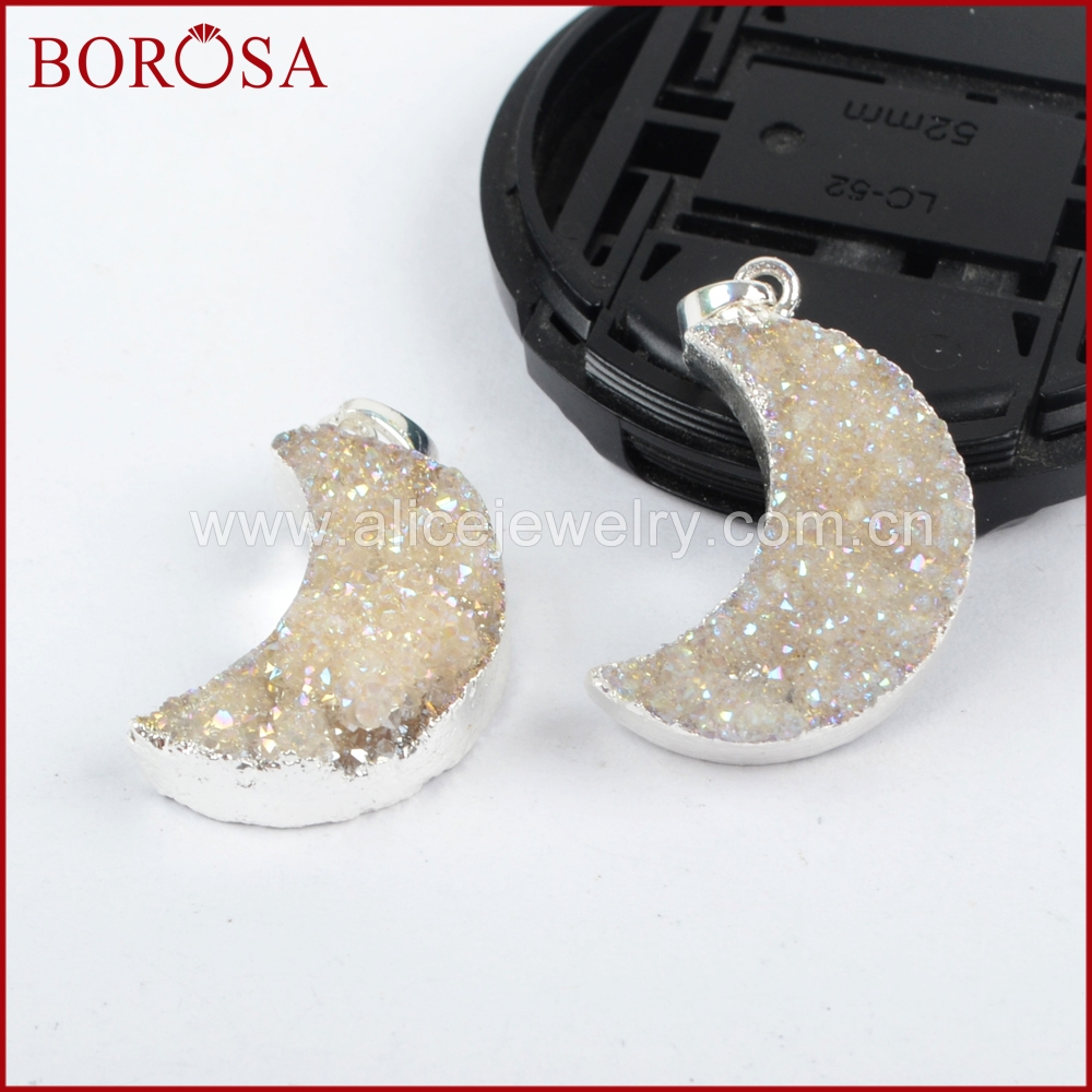 BOROSA 10PCS Fashion Silver Color Crystal Titanium AB geode Pendant Bead Moon Crescent Druzy Geode Stone for Necklace S0388