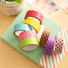 10 rolls of creative washi paper masking tape dots idea for handmade album/scrapbook/card making/colored tapes for sale(China)