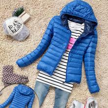 2017 Casual Style Women Winter Zipper Hooded Coat Long Sleeve Goose Down Jacket M L XLCandy Color