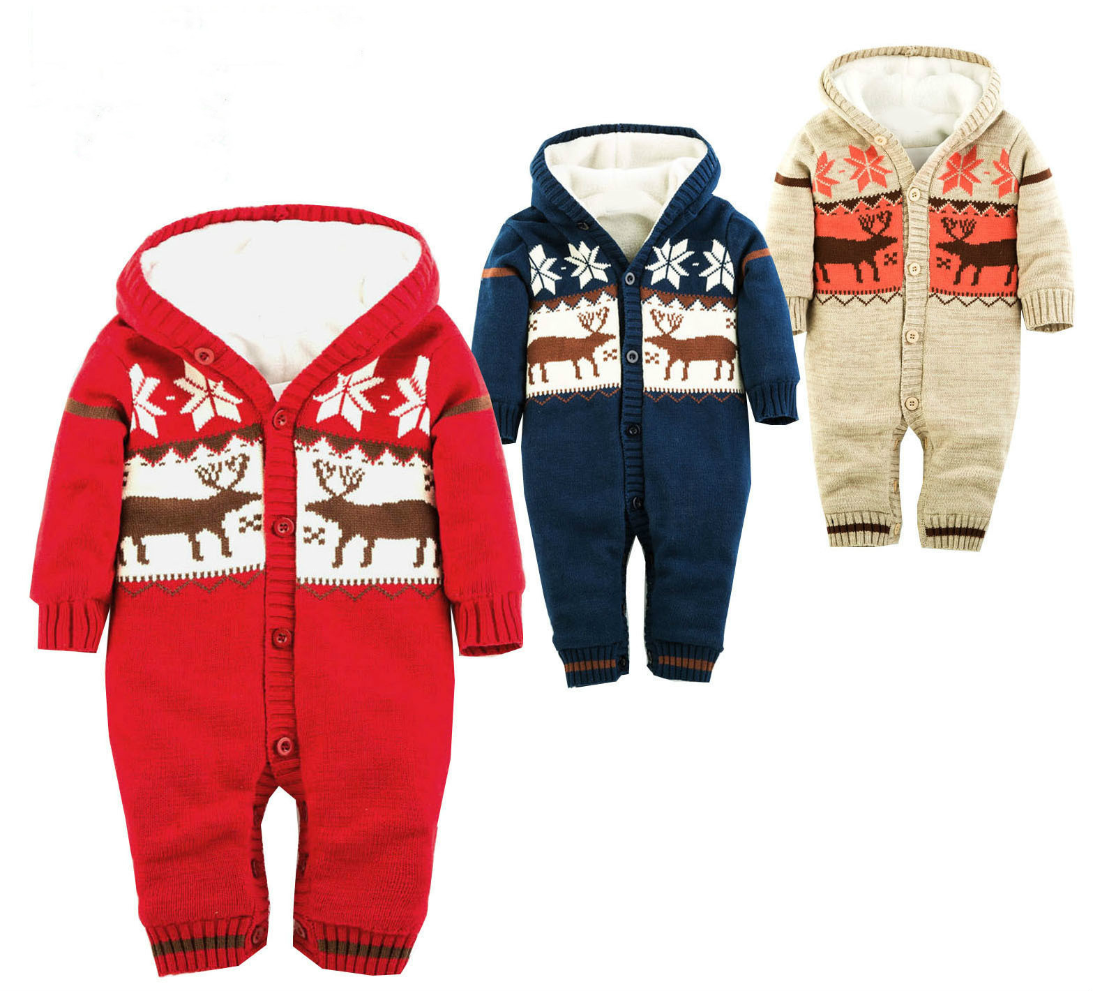 Hot Baby Warm Thick Winter Knitted Sweater Rompers Newborn Boys Girls Jumpsuit Climbing Clothes Christmas Deer Hooded Outwear<br>