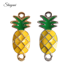 27*12mm Pineapple Fruit Charms Pendant Enamel Oil Alloy Pineapple Connector Charms for Necklace & Bracelet Jewelry Making DIY