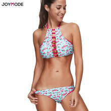 Buy JOYMODE Swimwear Lace High Neck Halter Swimsuit Women Push Brazilian Bikini Set Bandage Sexy Padded Swim Suit Biquini 3XL