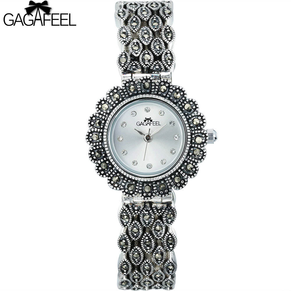 GAGAFEEL 925 Sterling Silver Watch for Lady Women Quartz Wristwatch Elegant Womans Thail Silver Watches<br>