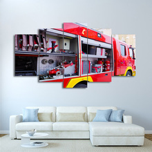 HD Printed 5 Piece Fire Truck Painting Fire Tools Wall Art Pictures Home Decoration Posters Frame Living Room On Canvas PENGDA
