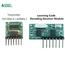 433 Mhz Wireless Receiver and Transmitter Receiver Learning Code 1527 Decoding Module 4 Ch output With Learning Button(China)
