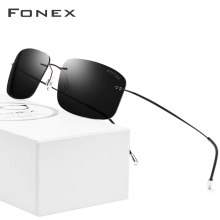Sunglasses Men Square Frameless Titanium-Alloy Women Ultralight Polarized