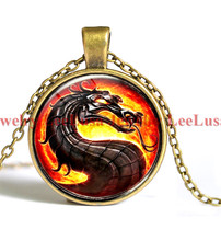 Dragon Necklace Mortal Kombat Pendant Glass Photo Jewelry  Pendant Necklace Charm Necklace