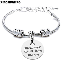 XIAOJINGLING Stainless Steel Bracelet Bangle Fashion Charm Women Bracelet Be stronger than the storm Birthday Gifts Accessories(China)