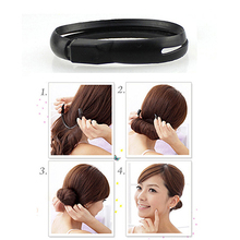 1 Pcs Hair Braiders Women Girls Black Hair Styler Magic Buns Ponytail Maker Twist Ring Styling Tools Black 25cm New Arrival