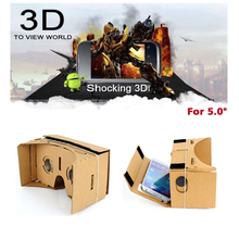 "DIY Google Cardboard VR Box Virtual Reality 3D Glasses Game Movie VR Glasses for 5.0"" Screen Android Mobile Phone Cinema(China)"