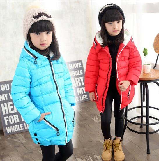 2017 winter childrens clothes solid thicken zipper girl down jackets for girls big kids hooded padded coats outerwears Îäåæäà è àêñåññóàðû<br><br>