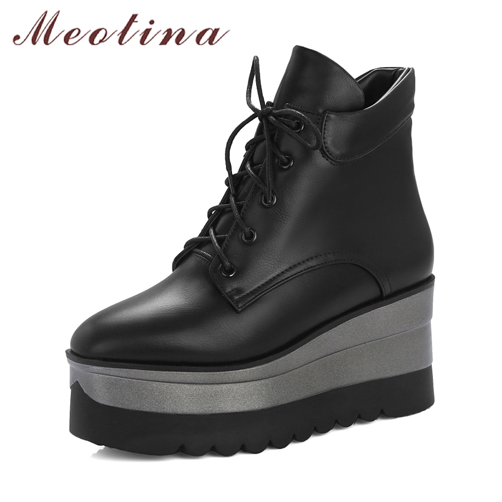 Meotina Winter Boots Women Punk Platform Wedge Boots Ankle Boots Lace Up High Heels 2018 Square Toe Fall Lady Shoes Black White<br>