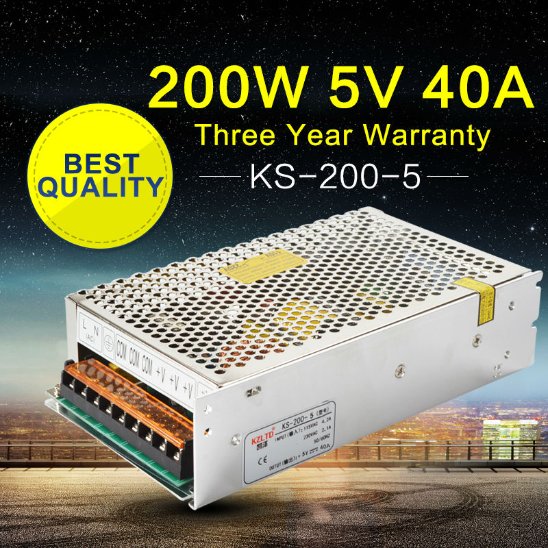 200W 5V 40A Power Supply AC to DC SMPS Switch Power Supply Transformer for LED Display Home Appliances Building Lighting<br>