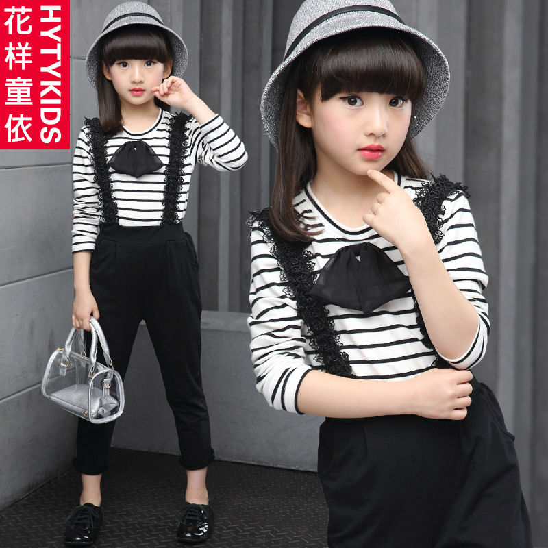 Girls spring clothes casual for 5 6 7 8 9 10 11 12 years old childredns clothing new fashion cute long sleeve tops and rompers<br><br>Aliexpress