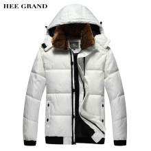 HEE GRAND Men Winter Parkas 2017 New Warm Hooded Fur Collar With Detachable Hat Casual Outwear Plus Size M-3XL 2 Colors MWM001