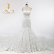 Strapless Neckline Empire Waist Trumpet Boning Appliques Full of Body Cathedral Luxury Lace Train Classy Lace Wedding Dress 2018(China)