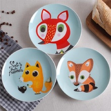 Ceramic Plates Cartoon Animals  8*inch Dinnerware Porcelain Flat Plates Pastry Cake Tray Party Plate Dishes Children Fruit Dish