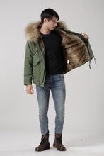 New arrival male down parka in army green with natural fake fur lined UK stylish Mr and Mrs fur coat(China)
