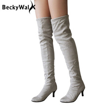 Hot Faux Suede Thigh High Boots Women Low Heels Over The Knee Boots Autumn Winter Sexy Lady Shoes Woman Plus Size 34-43 WSH2157
