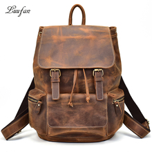 "Men vintage crazy horse leather backpack Unisex cow leather 14"" Laptop rucksack Women Thick real leather school bag casual bag(China)"