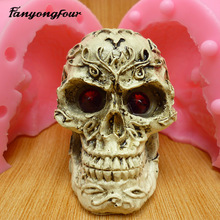 3D small skull fondant cake mold silicone mold chocolate mold soap soap candles tool free shipping