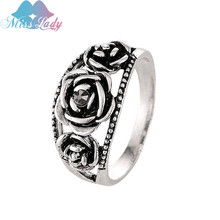 Miss Lady Vintage Retro fashion silve accessories unique Thailand silver Rose rings Compatible Bohemia Cocktail Ring MLYS3038
