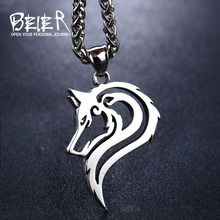 BEIER Punk 316L stainless steel new design howling wolf pendant necklace viking men celt Charm Fashion jewelry BP8-302(China)