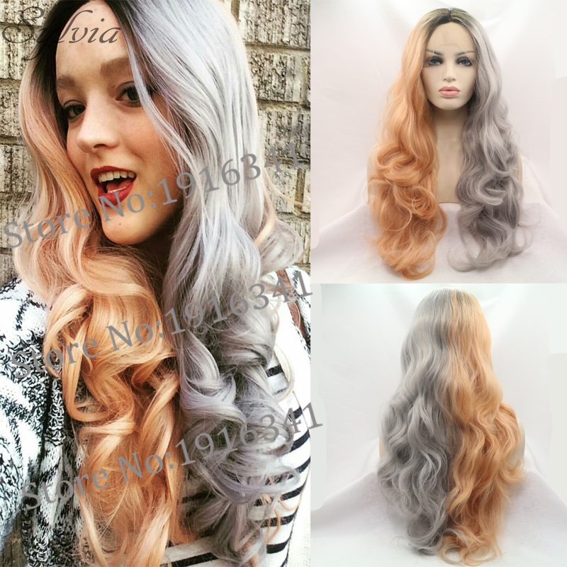 New Arrival Dark Root Long Body Wave Ombre Gray To Orange Synthetic Lace Front Wig With Heat Resistant Glueless Wigs For Women<br><br>Aliexpress