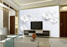 Custom 3D mural,3D three-dimensional fashion white flower,hotel coffee shop living room TV  wall bedroom vinyl wallpaper