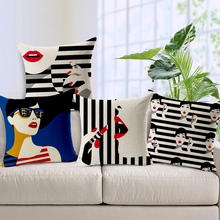 Cotton and linen simple black and white style fashion makeup girl hold pillow cushion for leaning on 45 * 45 cm