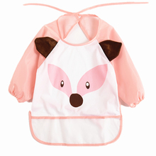 Sjaal Coverall Feeding Baby Long Sleeve Bib For Babies Apron Animals Babador Waterproof Backing Saliva Burp Overclothes(China)