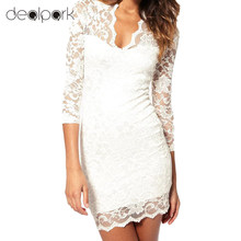 Brand New Hot Stylish Women's Mini Lace Dress Slim Sexy Ladies'  V-Neck 3/4 Sleeve Party Dresses Vestido De Renda Ropa Mujer