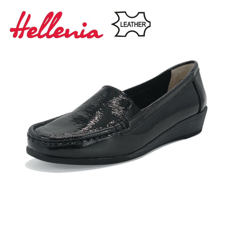 Hellenia Fashion Brand soft  Leather Women Shoes Comfort Round Toe Casual soft Sole Shoe Travel Female Footwear Size 36 -41<br>